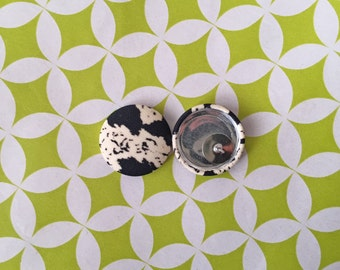 Fabric Button Earrings / Black and White / Animal Print / Wholesale Jewelry / Hypoallergenic Studs / Gifts for Bestfriend / Bulk Earrings