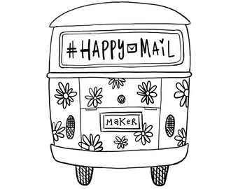 Shop Exclusive - Happy Mail & Maker VW bus - handdrawn Wood Stamp - Volkswagon bus happy mail rubber stamp