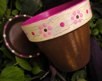 Painted Flower Pot - Four Inch - Choose Your Colors