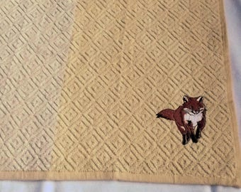 Fox Tea towel, Kitchen Towel, Embroidered Towel, Kitchen Gift
