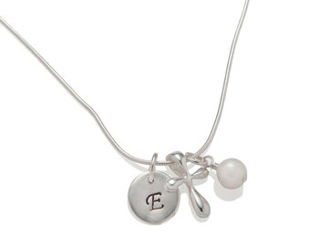 Girl Baptism Gift Cross Initial Necklace, Confirmation Gift, Girl Communion Gift, Cross Necklace R003