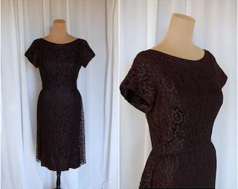 Phendon Lace Dress / Vintage 1950s Wiggle Dress / LBD / Sheath Dress / Holiday Dress / Party Dress / Sz S-M