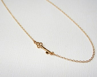 Mini Key Necklace in Sterling Silver (18k Yellow Gold Plating),  Wedding Jewelry, Bridesmaid Necklace, Gift For Her.