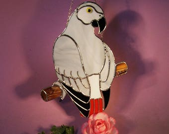 Stained Glass Suncatcher African Grey Parrot  (845)