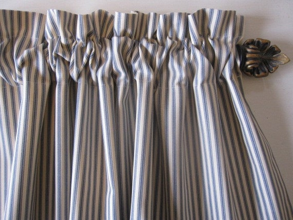 Ticking Stripe Curtains Set Of 2 BLUE Cotton