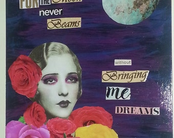 Original Art, Mixed Media Collage,  Hand made, Altered Art on wood 16.1/4 x 13 1/2 Moon Annabelle Lee Quote  Edgar Allen Poe Sale Price OOAK