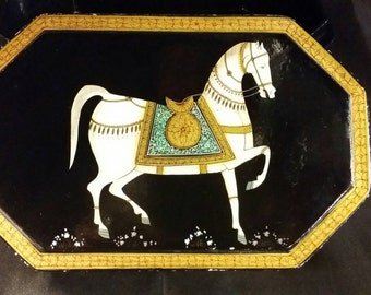 Hand painted heritage box from India with Muhgal horse  and intricate details