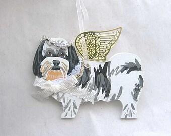 Hand-Painted SHIH TZU Blk/Wht Metal Wing Angel Wood Ornament....Artist Original