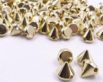 500pcs 8mm Gold Silver Color CCB Plastic Rivet Sewing Spikes Studs Punk Rivets For Leather Clothes DIY Jewelry Crafts