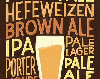 INSTANT DOWNLOAD! Beer Varieties - Hand Lettered Poster