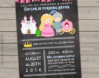 princess birthday invitation printable, princess invitation, princess and knight party invites digital