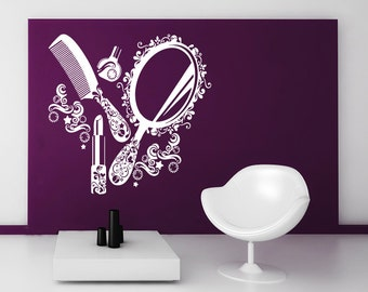 Wall Decal Vinyl Sticker Decals Beauty Salon Make Up Girl Woman Makeup Fashion Cosmetic Hairdressing Hair Decor Art Design Interior NS832
