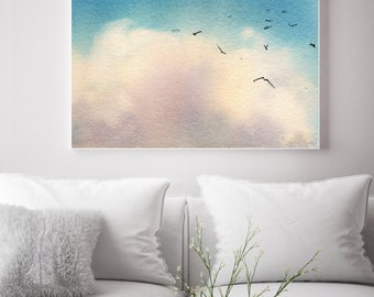 Blue Sky fine art print, watercolor painting of sky and clouds, sky wall art print