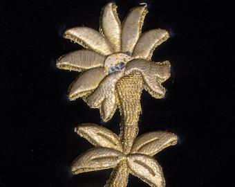 Handmade Gold Raised Threadwork Flowers, Circa 1920