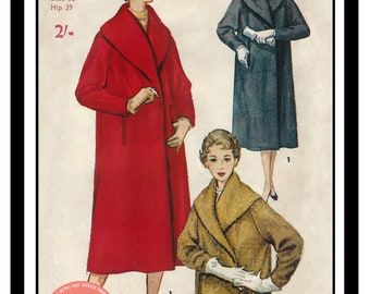 1950's Shawl Collar Wrap Coat Sewing Pattern - PDF  Instant Download