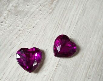 dark purple heart shaped cabochon