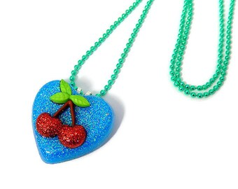 Cherry Necklace, Blue Heart Pendant, Rockabilly Jewelry