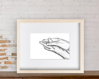 Modern Wall Art Drawing - Minimalist Art - Prints - Holding Hands