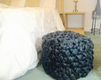 Ottoman, Chunky Knit Ottoman, Pouf, Merino Wool Pouf, Merino wool ottoman, Floor Stool, Floor pillow