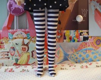 Black and White striped over the knee socks for Blythe dolls  Blythe dressing handmade in Paris France
