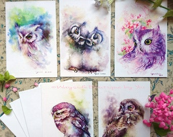 """Greeting owl set 5 cards - print from watercolor painting 4 x6"""""""