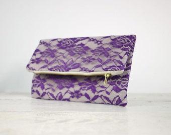 Purple lace clutch, fold over purple lace clutch | Purple Bridesmaid Clutch | Purple Wedding Clutch