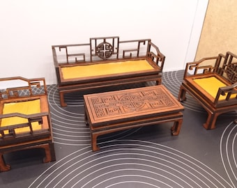 Chinese furniture, living room set with 2 armchairs, 1 sofa and 1 tea table in brown wood. Miniature 1/12 scale for dollhouses