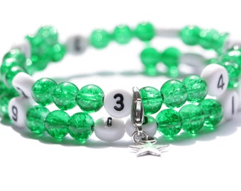 Nursing bracelet on memory wire 55mm with glass beads form cracked dark green