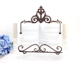 Rustic Copper Cast Iron Book Easel, Book Stand, Shabby Chic Cottage Style Home Decor #B258