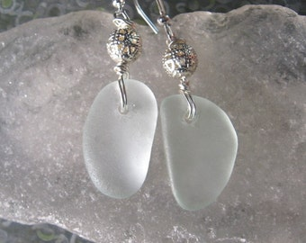 Pretty Icy White Lake Superior Beach Glass Earrings w/Silver Filigree Bead