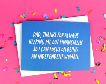 Funny Father's Day Card - Dad Card - Dad Quote - Joke Card - Bank of Dad - Bold Blue