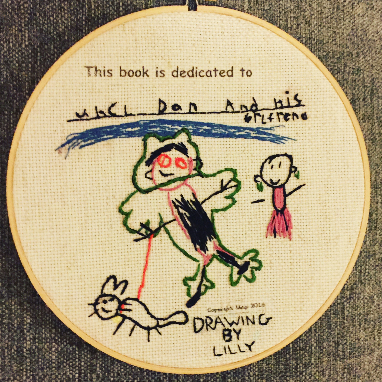 Custom Children\'s Artwork Embroidery Hoop Wall Art