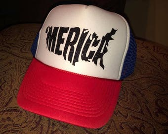 Red, White, and blue 'Merica' states trucker hat, foam front, mesh back