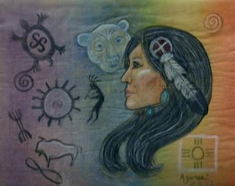 Bear Woman Healing Spirit Petroglyph  by Azurae Windwalker, shamanic healer/ artist