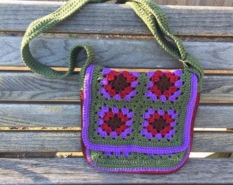 Crochet Granny Square MESSENGER BAG fully lined