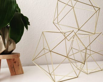 Geometric Icosahedron Himmeli - Coffee Table Decor - Modern Minimalist Orb - Brass Sphere - Wedding Centerpiece - Airplant Hanging Mobile