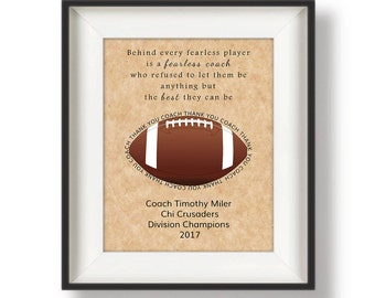 Coaches Gifts for Football - Gifts for Football Coaches - Football Coaches Gifts - Personalized Football Coach Gifts - 8 x 10 - Fearless