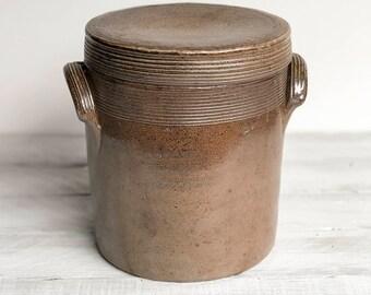 Vintage French Confit Pot, Vintage French Stoneware Kitchen Canister, Kitchen storage, Kitchen container, French kitchen, Glazed Earthenware