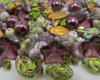 168 Bead Mix Shades of Purples, Gold and Greens Bead Mix