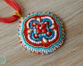 Bead embroidery pendant, Beaded pendant, Pendant necklace, Emroidered pendant