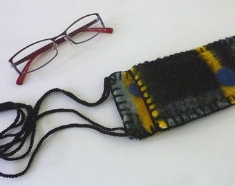 reading glasses pocket with cord, wool reading glasses sleeve, Spectacles Bearer, reading glasses case, woolen glasses case, glasses sleeve