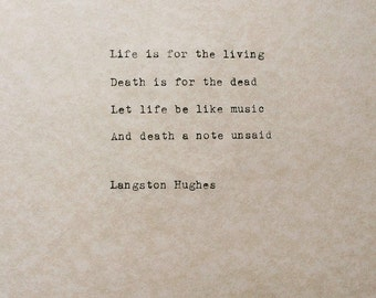 Typed Quote Langston Hughes Poem Typewriter Quote Typed Paper Typewriter Poetry Typed on paper Hand typed poem Life Quote Harlem Renaissance