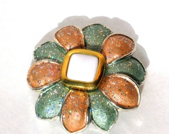 Flower Brooch Pin Vintage 80s Costume Jewelry Aqua Salmon Resin Glitter Floral