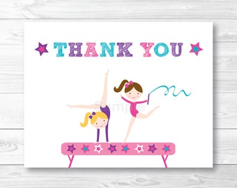 Girls Gymnastics Thank You Card / Folded Card Template / Gymnastics Birthday / PRINTABLE Instant Download A193