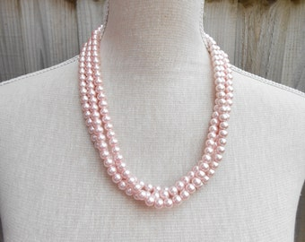 Pink wedding, pink gift, pink birthday gift, pink bridesmaid, pink necklace, pink jewelry, pink wedding jewelry, pink bead necklace