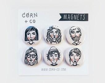 illustrated MAGNET SET II — faces illustration fridge magnets, character design