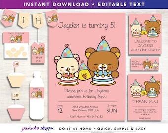 Rilakkuma Bear Birthday Party Printables / Invitation - INSTANT DOWNLOAD - Fully EDITABLE text