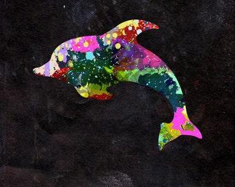 Dolphin Watercolour - Original Graphic Art Print - Photo Poster Gift