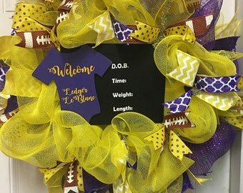 Hospital Door Hanger. LSU Birth Announcement Wreath. Nursery Wreath. Baby Shower Wreath. Baby Shower Gift. Baby Girl Wreath. Nursery Decor