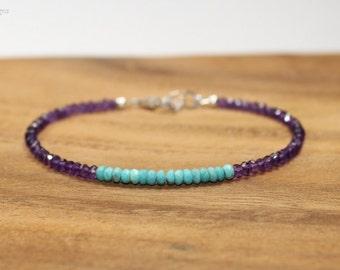 Sleeping Beauty Turquoise & Amethyst Bracelet, Sleeping Beauty Turquoise Jewelry, February and December Birthstone